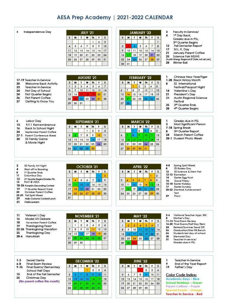 AESA School Calendar